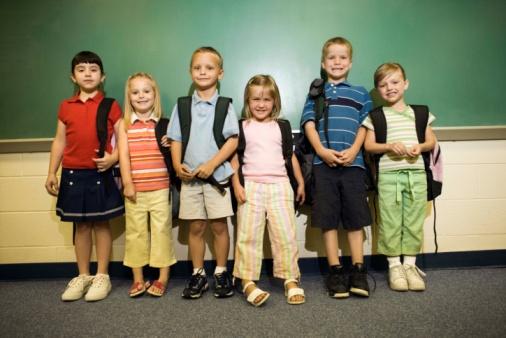 School kids lining up