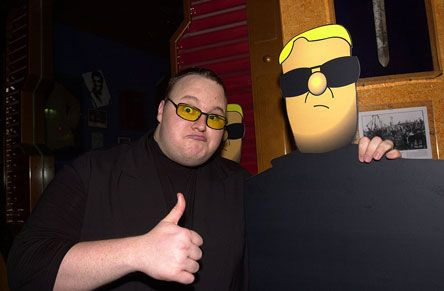 Kim Dotcom with a more handsome cardboard cut-out