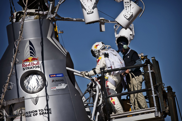 Felix Baumgartner climbs aboard the capsule before mission-abort.