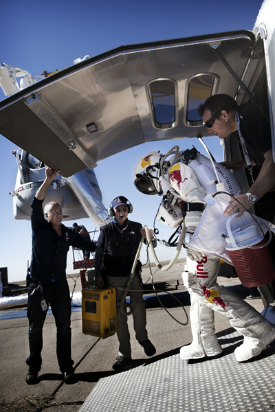 Felix Baumgartner steps out of his trailer ready for action