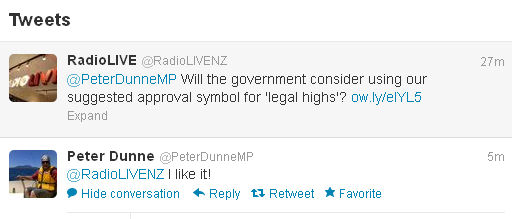 We put our suggested logo to Associate Health Minister Peter Dunne and he clearly approves!