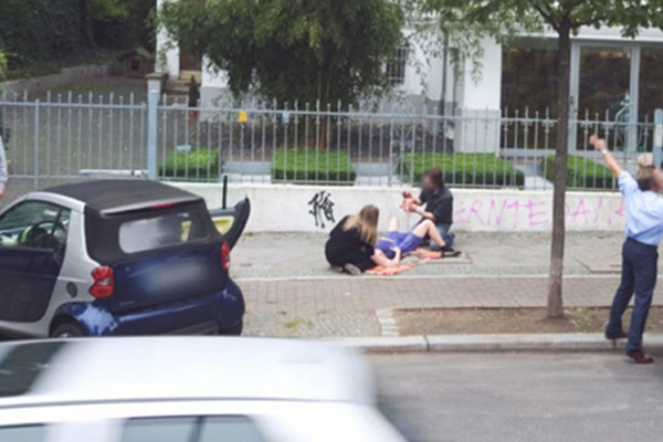 Giving birth on the pavement? This image captured by Google Street View turned out to be an elaborate prank.