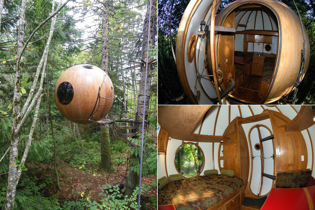 Suspended globe house