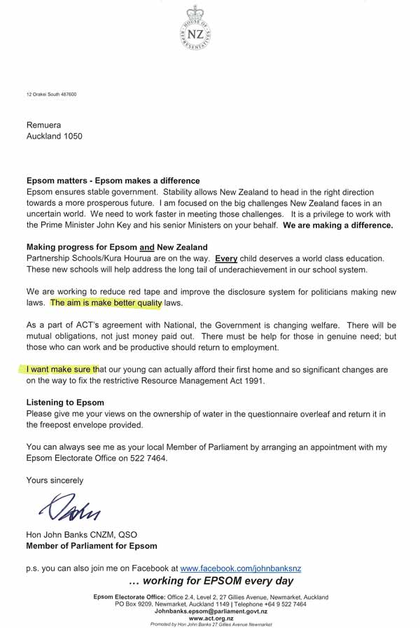 I am sure Epsom's high decile schools are extremely proud of their local MP's letter sending department