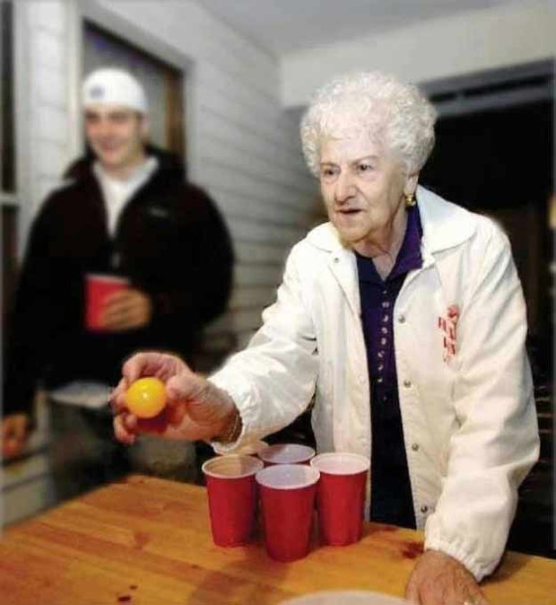You are never too old for beer pong!