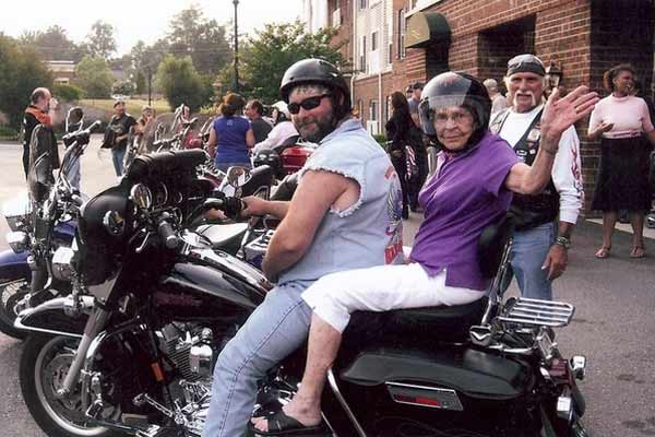 You are never too old to ride pillion on a hog!