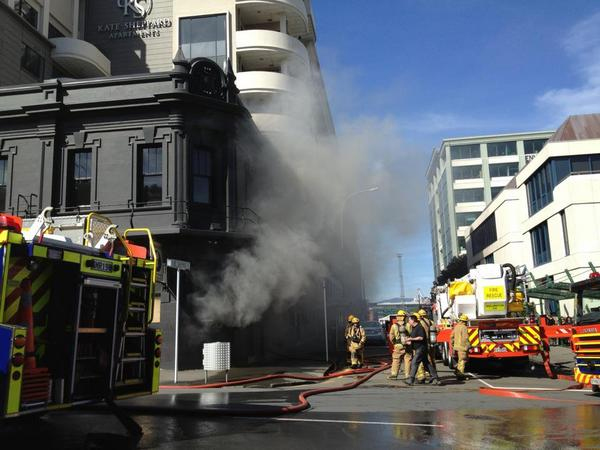 Smoke pours from the iconic pub. Photo: @francistill