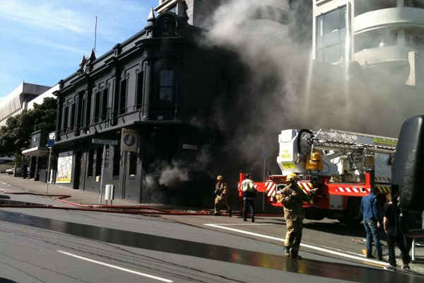 Fire crews battle the second blaze in a year at Wellington's iconic Backbencher pub