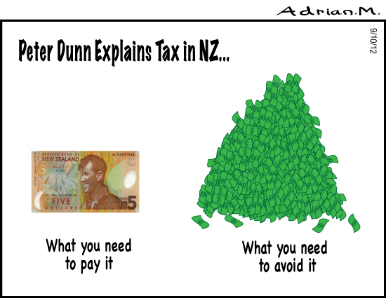 Peter Dunne explains tax in New Zealand. By Adrian Maidment.