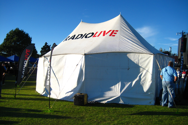 The RadioLIVE marquee in the Tauranga Domain