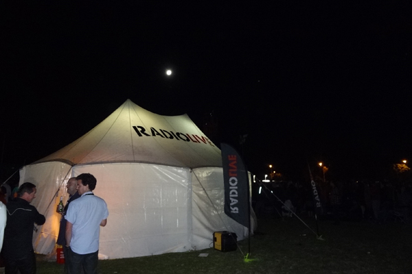 The RadioLIVE marquee by moonlight