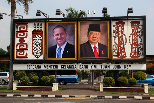 New Zealand Prime Minister John Key's arrival promoted on a giant billboard, erected by President Susilo Bambang Yudhoyono. Photo: Ryan Bridge