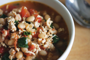 Chicken, white bean and spinach soup recipe