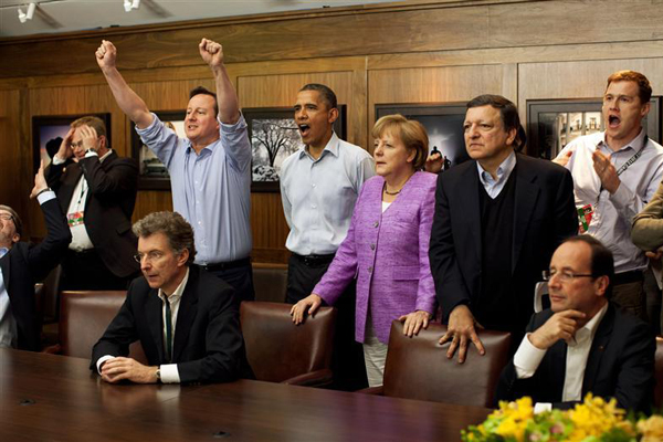 British PM David Cameron, US President Barack Obama, German chancellor Angela Merkel, EU president José Manuel Barroso, French president François Hollande and others watch Chelsea steal Champions League victory. Image: Reuters.