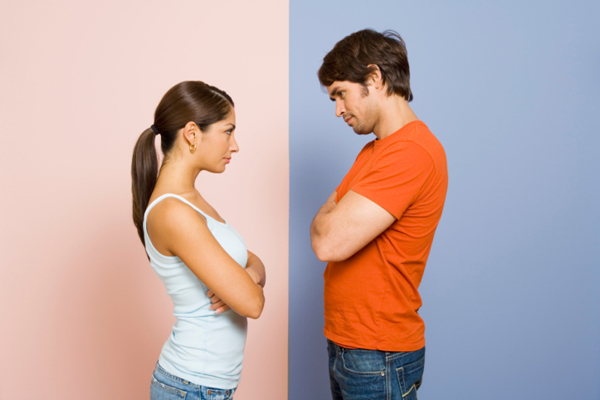 Woman and man face off