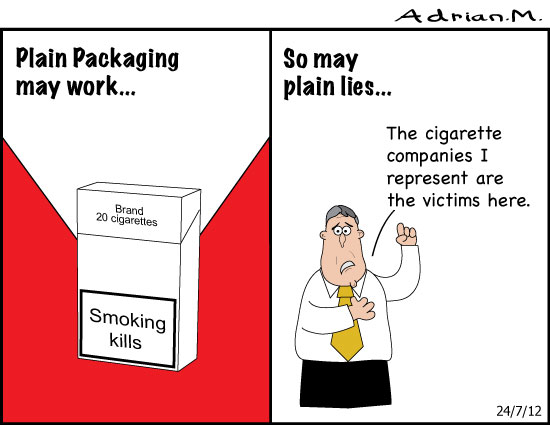 Plain packaging cigarettes may work...