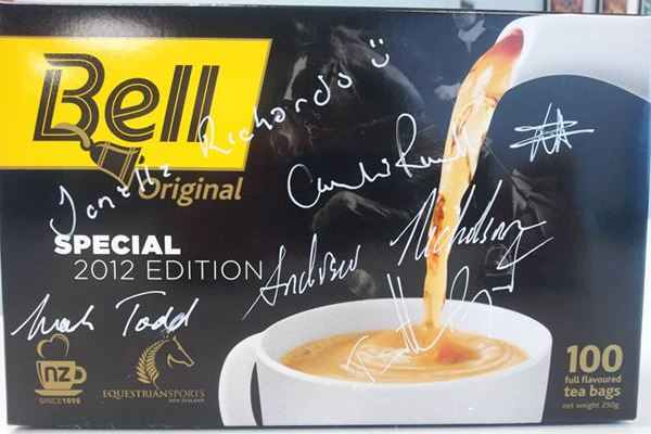 Bell Tea Black Pack autographed by New Zealand's Olympic 2012 eventing team