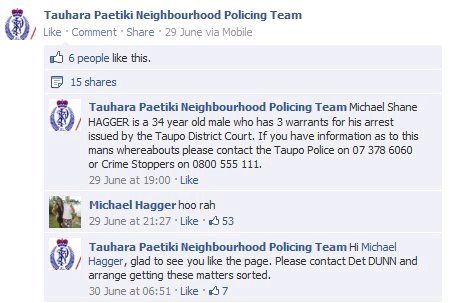 An earlier screengrab of the post appears to show the comment from Michael Hagger, who has 3 arrest warrants out on him.