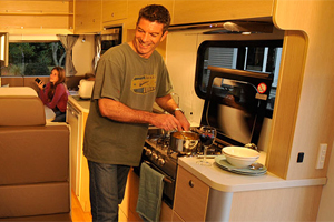 Cooking aboard a Motek camper