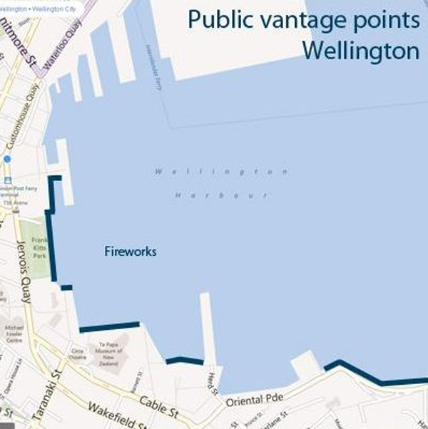 Wellington fireworks - public vantage points