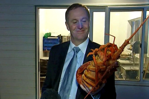 John Key and the crayfish he kissed