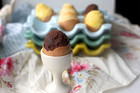 Chocolate brownie egg shell cakes