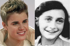 Justin Bieber today and Anne Frank back then