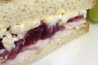 Smoked chicken, cranberry and brie sandwich