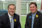 Aaron Gilmore sits with John Key
