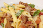 Pasta with sausage and fresh tomato recipe