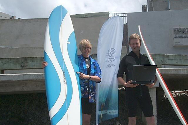 Lapping it up: Does David Cunliffe have his wetsuit on back-to-front?
