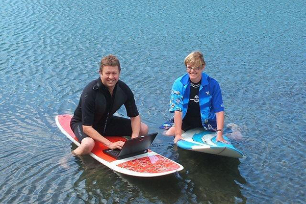 "Surf's up: David out ""surfing"" with former Wellington mayor Kerry Prendergast. Nice shirt, Kezza."