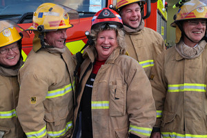Annabelle White with Brian's volunteer fire crew