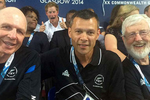 Prince Harry photobombs Kiwi sport and rugby dignitaries at the Commonwealth Games. Photo: www.massey.ac.nz
