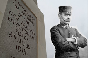 Reverend John Aldred Luxford (inset) and the Chunuk Bair memorial.